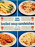 1960 Ad Campbell's Broiled Soup Sandwich Recipes Bean Cream Chicken Celery...