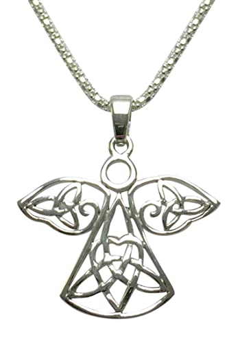 12e1fdac0eb47 Sterling Silver Celtic Filigree Guardian Angel Necklace - NEW LARGER DESIGN  - On Quality Popcorn Chain