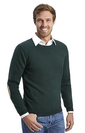 ALLBOW Dunkel Grüner Pullover Ellenbogen Patches, Herren