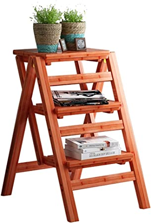 WANNA.ME - Taburete de Madera de 3/4 peldaños, Escalera Plegable, Asiento de bambú, Escalera, Taburete, Escalera para casa, Cocina, Oficina, obligación, máx. 150 kg, 3steps: Amazon.es: Hogar