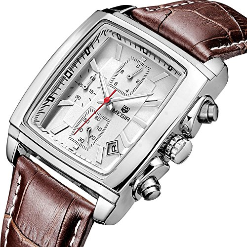 37mm Watch White Dial (Carlien Mens Classic Dress Quartz Watches Running Chronograph Leather Strap Watch (Silver&White))