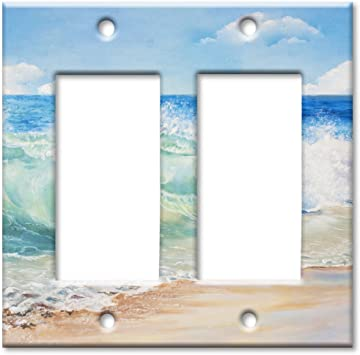Art Plates Brand Double Gang Rocker Switch Wall Plate Beach Painting