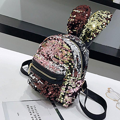 Domybest Glänzende Pailletten-Rucksack-Damen-Bärn-Ohren-Miniemädchen-Schulter-Reise-Tasche / Schwarzes Rosa + Gold, Rosa Kinder