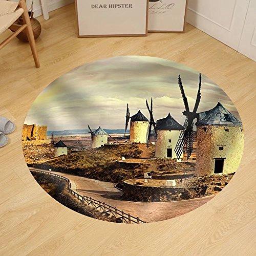 Gzhihine Custom round floor mat Windmills of Spain on Sunset by Gzhihine