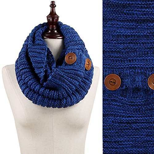 Stylesilove Wood Button Deco Two-tone Rib Knitted Cowl Sc...