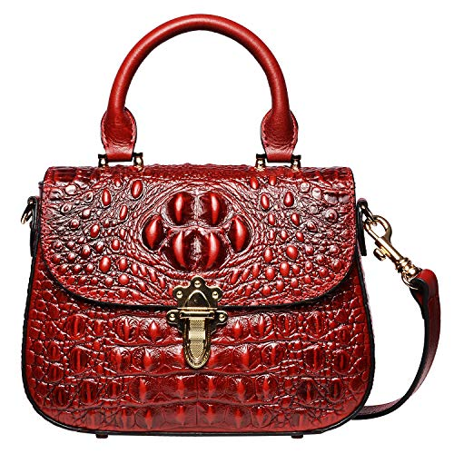PIJUSHI Leather Crossbody Shoulder Bags for Women Crocodile Satchel Bags (99806 Red)