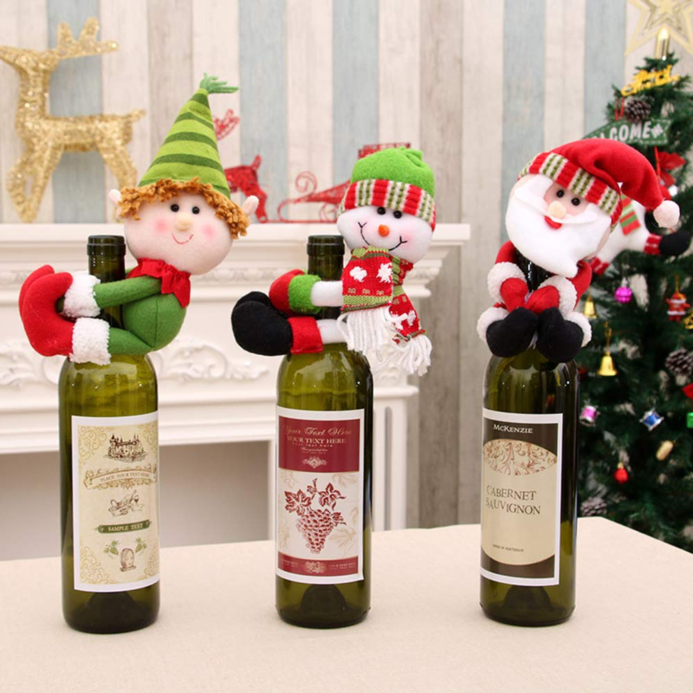 Household Merchandises 1pcs Table Decorations Wine Bottle Cover Ornament Wedding Table Decorations Novelty Decoration Snowman Santa Clause Lovely Hug Without Return