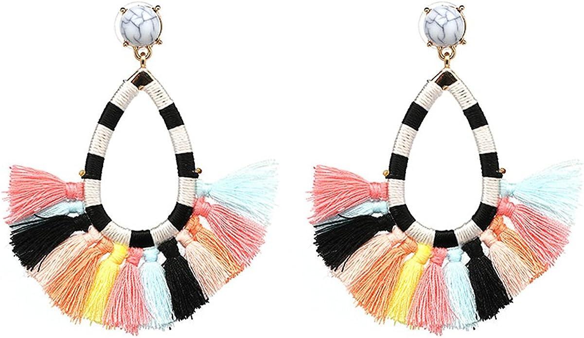 Thread Tassel Earrings Statement Tassel Dangle Earrings Stud Earrings Bohemian Women Ethnic Hanging Rope Tassel Earrings Gift idea for Birthday Wedding or Friend