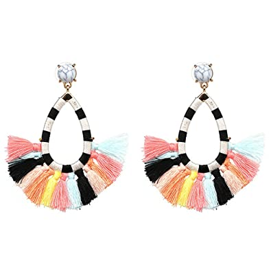 afd03831d3b714 Women's Beaded Tassel Earrings Long Fringe Drop Bohemian Earings Dangle 7  Colors (colours)