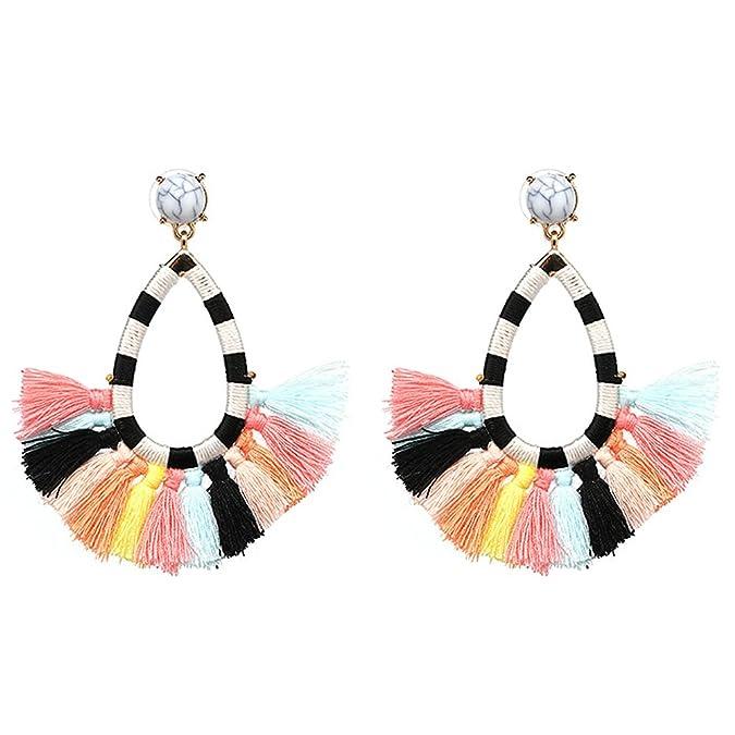 42f764cf4198f Women's Beaded Tassel Earrings Long Fringe Drop Bohemian Earings Dangle 7  Colors