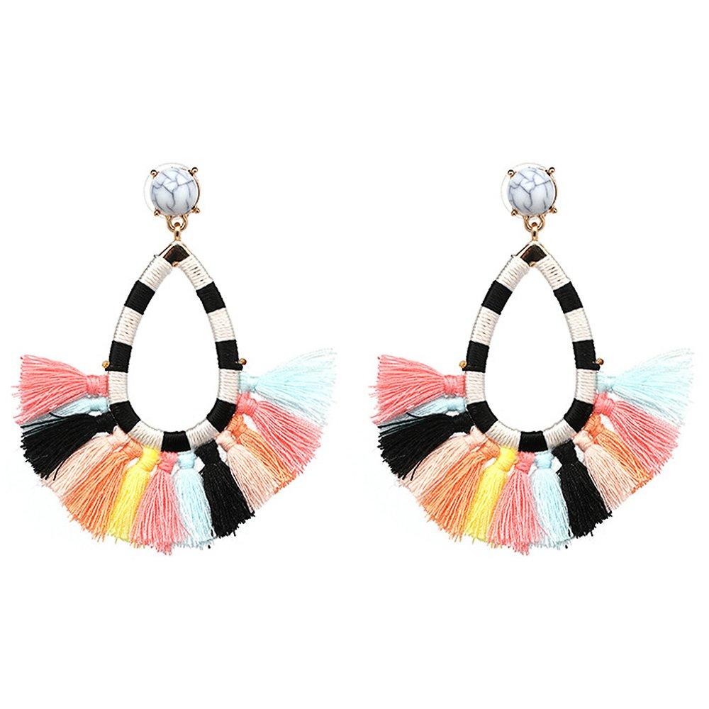 Women's Beaded Tassel Earrings Long Fringe Drop Bohemian Earings Dangle 7 Colors (colours)