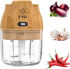 BIG SIZE 250 ML- Electric Garlic Chopper, Portable Food Chopper Cordless Spice Grinder with Type C Charge Port, Food Blender for Chili Ginger Onion Vegetable Fruit and Nuts (Light Wood)