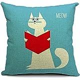 "Decorbox Village Cute Cat Cotton Linen Decorative Throw Pillow Cover Cushion Case 18"" x 18"""