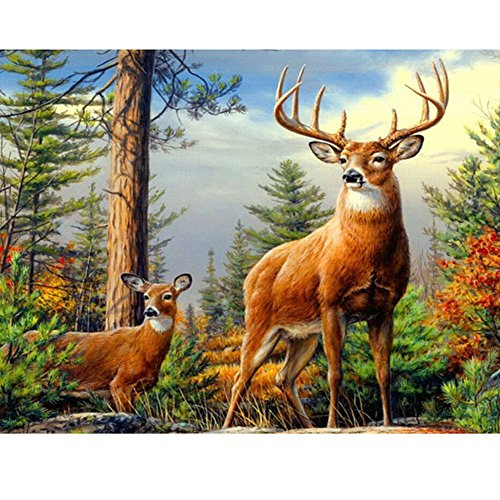 Animal Amp (DIY Diamond Painting Paste Stone Animal Mosaic Cross Stitch Full / 100% Area Square Resin Stick Tools Cross Stitch & Hardanger Embroidery Wall Decorations Gift (Deer))