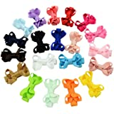 YALUN Tiny No Slip Hair Clip for Baby Girls Toddlers Fully Lined 2 inch Ribbon Hair Bow Alligator Clips Hair Accessories Pack of 20pcs with Gift Bag(multi color)