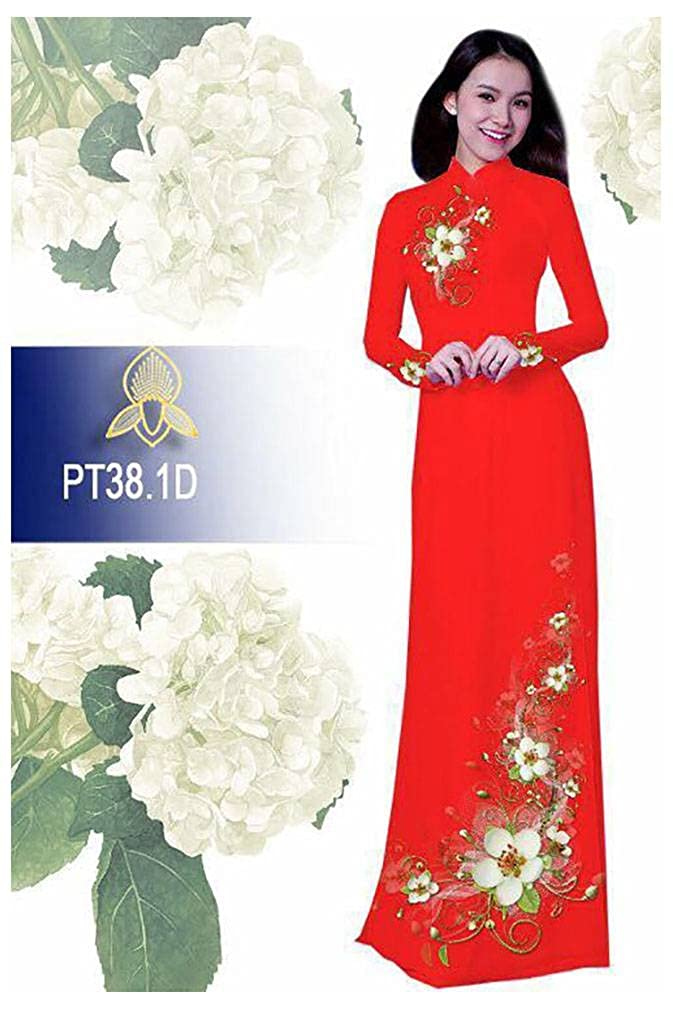 Ao Dai ADVN00514 All Size Silk 3D Traditional Vietnamese Long Dress Collections with Pants