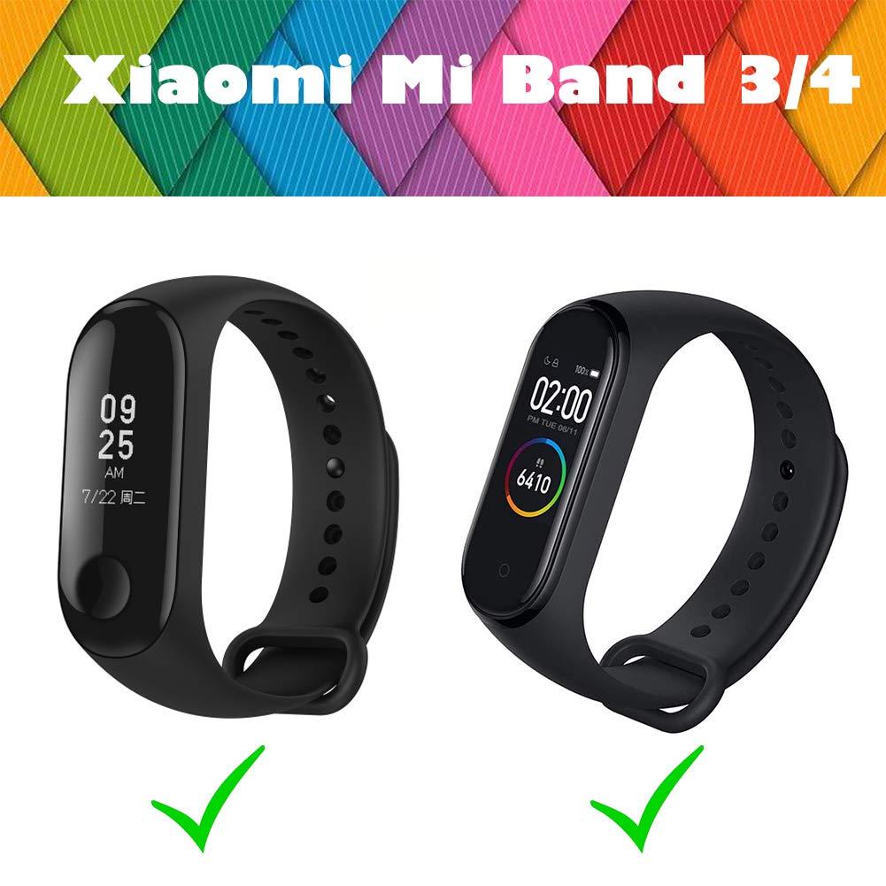 BRone Pulsera para Xiaomi Mi Band 3 / Mi Band 4, Coloridos Impermeable Reemplazo Correas Reloj Silicona Correa para Xiaomi Mi Band 3 Pulsera Silicona ...