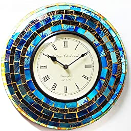Purpledip Wall Clock \'Shimmer\'\' - Mosaic of Glistening Blue Crystal Pieces set in Wood Frame for a Magical Effect | Size: 1212 inches (sku# clock66)