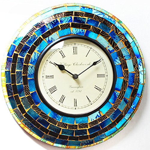 Purpledip Wall Clock 'Shimmer' - Mosaic of Glistening Blue Pieces Set in Wood Frame for Magical Effect | Size: 12 Inches Diameter (clock66) ()