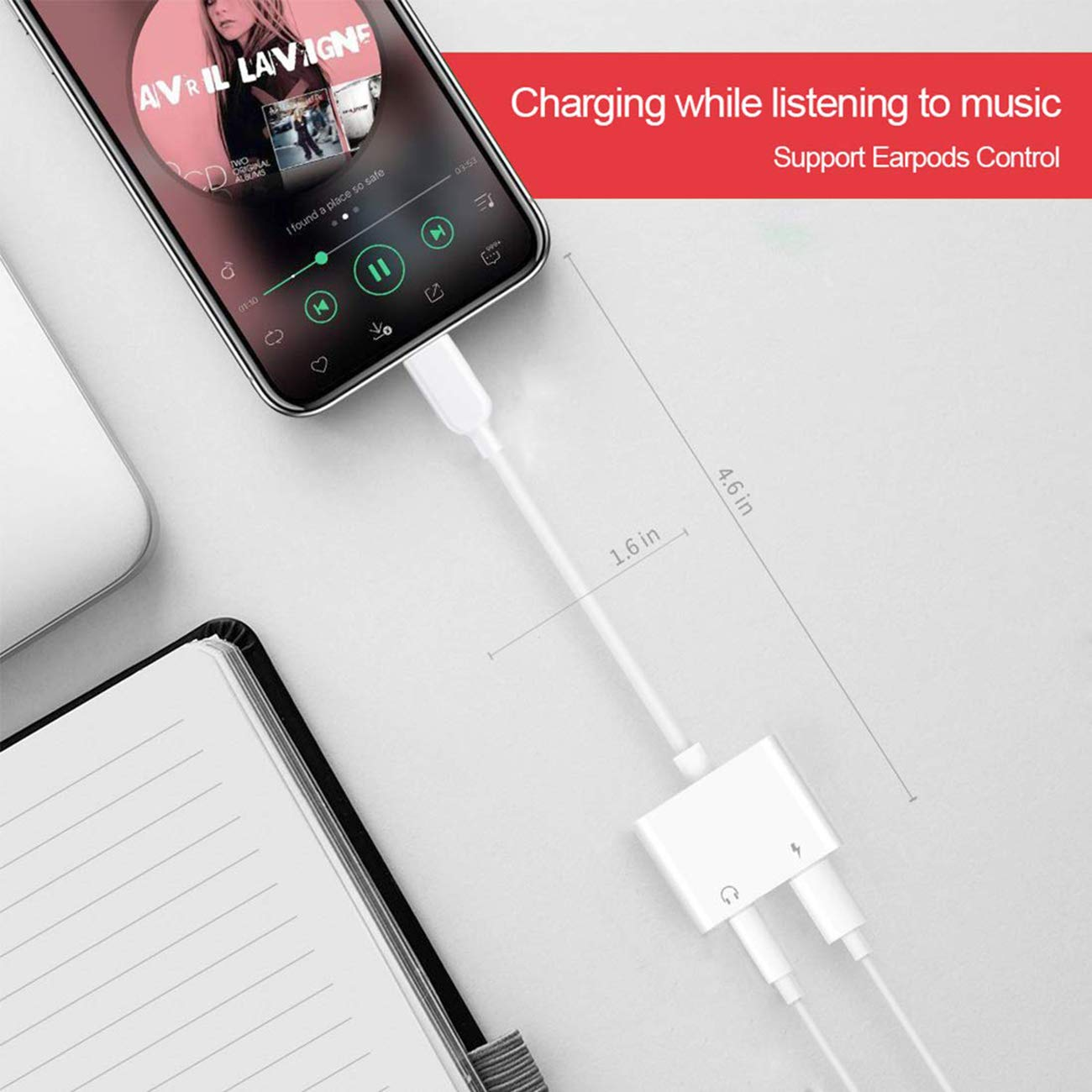 Headphone Adapter 3.5mm Jack Adaptor Charger for iPhone 8/8Plus for iPhone7/7Plus/X/10/Xs/XSmax,Earphone 3.5mm Adaptor Cable AUX Audio&Wire Control Headset Extender Connector Support iOS 10.23 System by Birstin (Image #4)