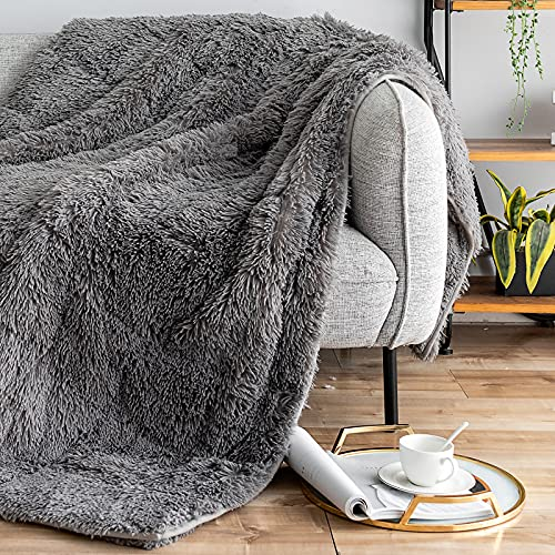 Kivik Shaggy Faux Fur Heavy Blanket for Adult,Sherpa Fuzzy Fleece Throw Blanket Cozy Furry Thick Bed Blanket for Couch Sofa Home Gifts,Grey 48