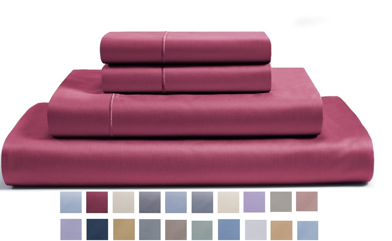 CHATEAU HOME COLLECTION 800-Thread-Count Egyptian Cotton Deep Pocket Sateen Weave Sheet Set (King, Burgundy)