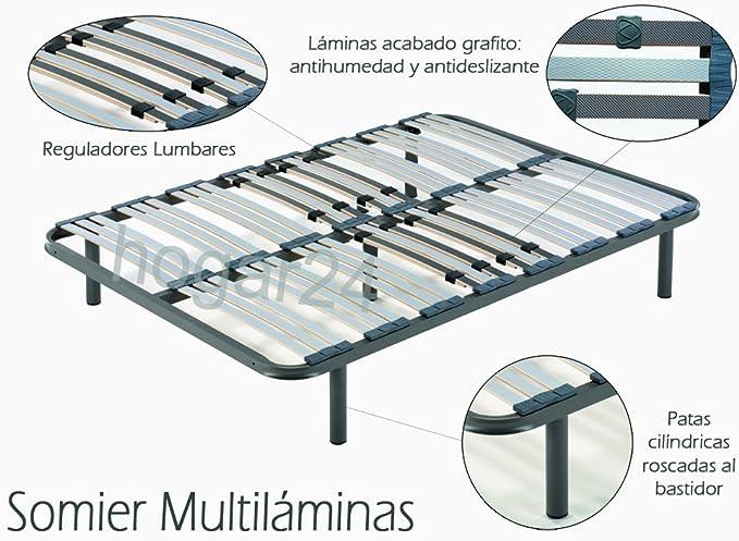 HOGAR24 Somier multiláminas con reguladores lumbares-140x200cm-PATAS 26CM (5 patas incluidas)