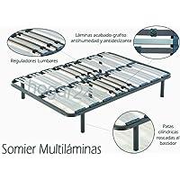 HOGAR 24 Somier Multiláminas con reguladores lumbares-150x200cm-PATAS 26CM
