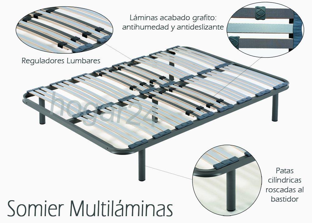 ES Somier multil/áminas con reguladores lumbares-105x200cm-PATAS 26CM 4 Patas Incluidas