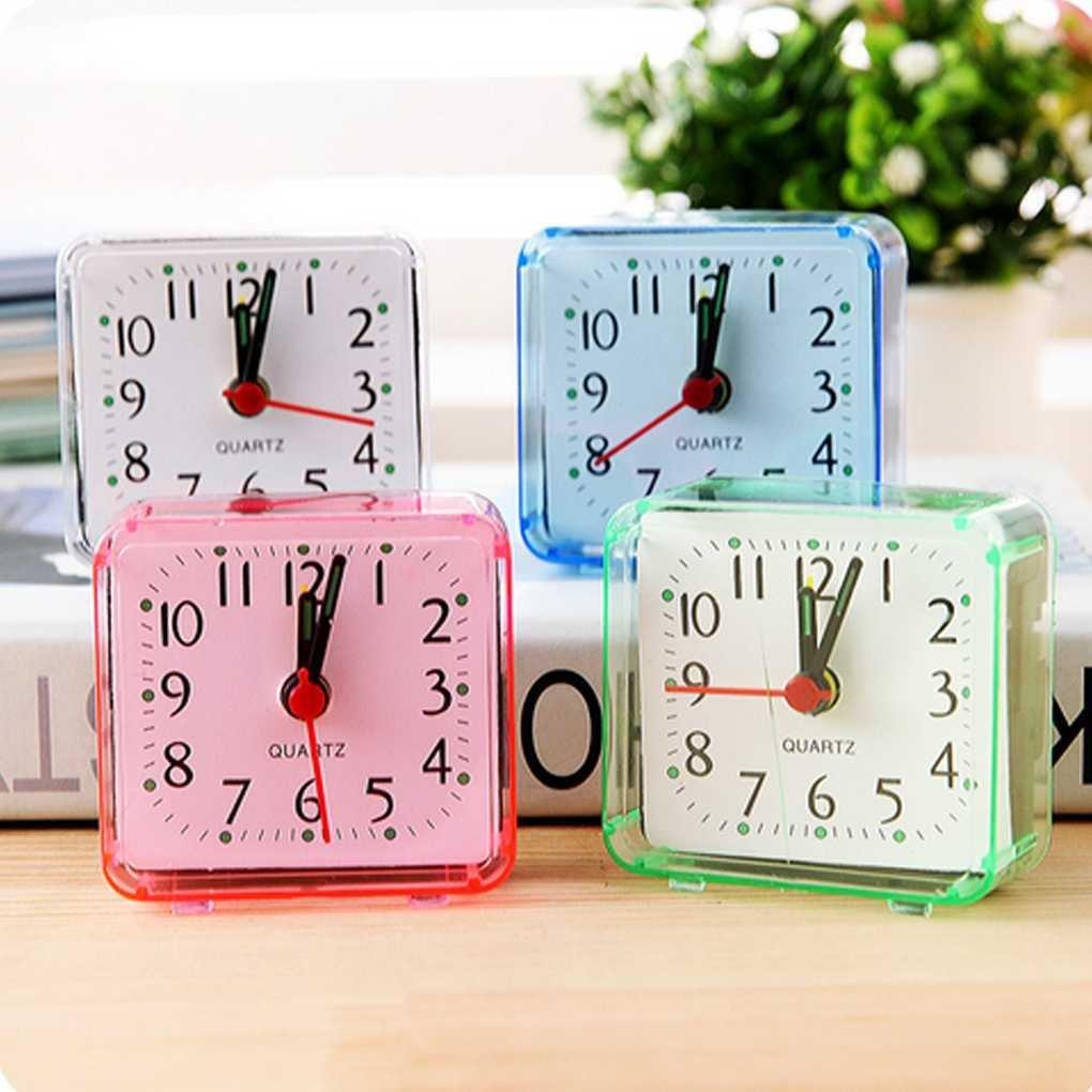 Carry stone Platz kleines Bett Wecker transparenter Fall kompakte Reise Uhr Mini stumm Kinder Student Schreibtisch Uhr