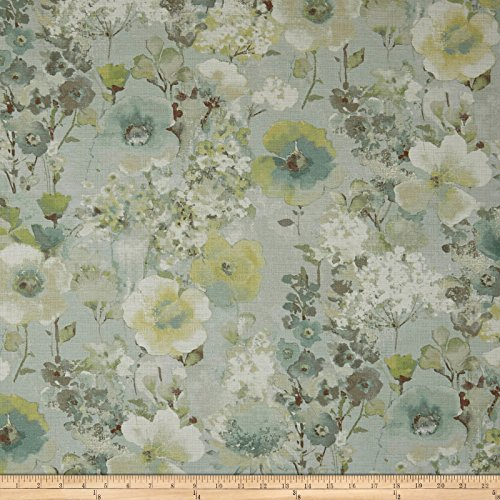 Swavelle/Mill Creek Beauhaven Floral Barkcloth Seaspray Fabric by The Yard