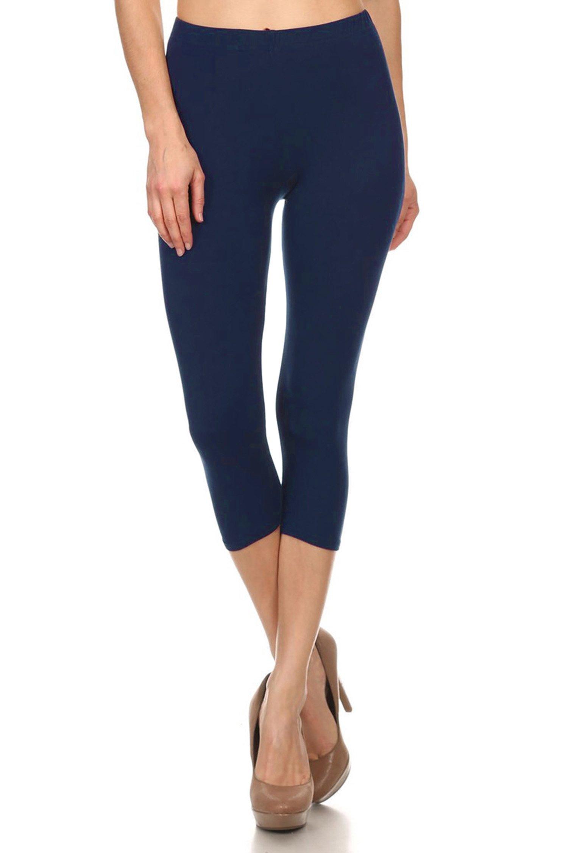 Leggings Mania Women's Solid Colored Capri Leggings Plus Size Navy
