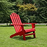 Azbro Outdoor Wooden Fashion Adirondack chair/Muskoka Chairs Patio Deck Garden Furniture,Red