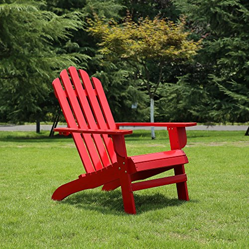 Azbro Outdoor Wooden Fashion Adirondack chair/Muskoka Chairs Patio Deck Garden Furniture,Red by Azbro