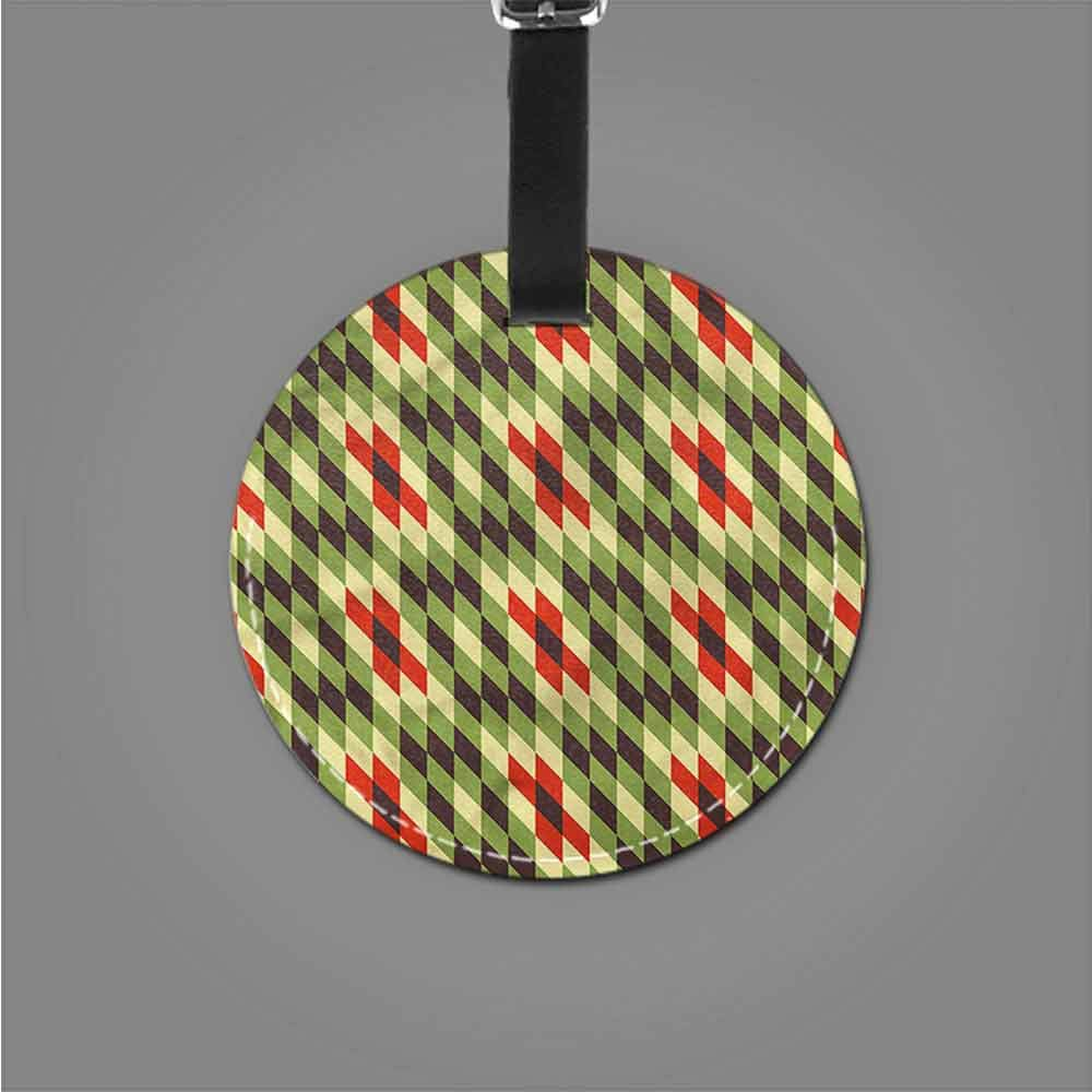 Funky Travel Luggage Tags Abstract,Geometric Fractal Circles Round Leather Luggage