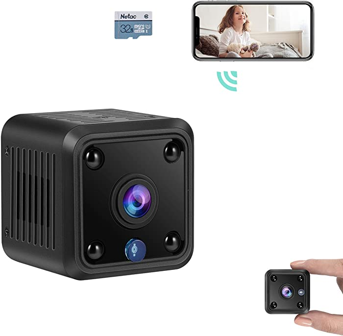 TeamMe Mini Spy Camera, WiFi Wireless Hidden Camera, HM206 1080P HD Small Home Security Camera with 32G SD Card, Night Vision, Motion Detection, Rechargeable Tiny Nanny Cam for Indoor Outdoor