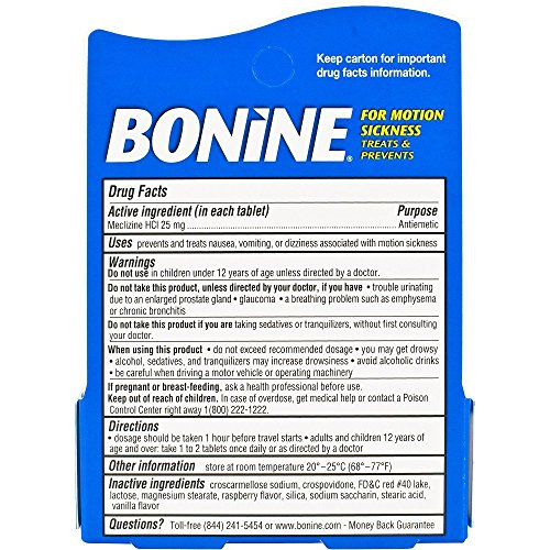 Bonine Travel Pack Raspberry Tablets (12 Count)