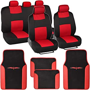 BDK Red Combo Fresh Design Matching All Protective Seat Covers (2 Front 1 Bench) with Heavy Protection Sleek Graphic Auto Carpet Floor Mats (4 Set)