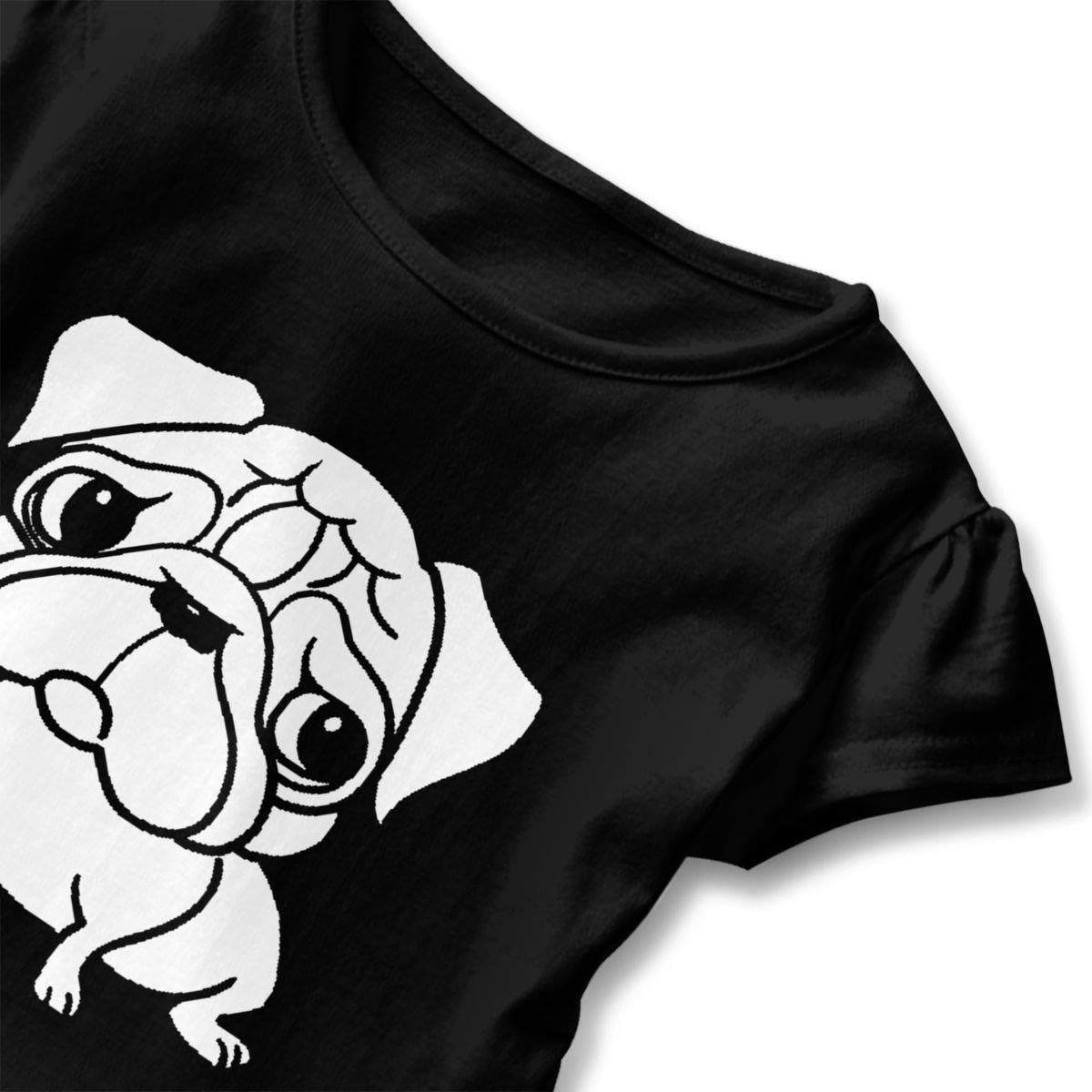 JVNSS Pug Dog Shirt Funny Baby Girls Flounced T Shirts Clothes for 2-6T Kids Girls