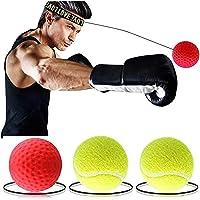 Salandens Pelotas de Reflejo, Reflex Ball - 2 Pelotas de Reaccióna, Boxing Reflex Ball, Pelota Boxeo, Ideal para reacción, Agilidad, Velocidad de perforación, Habilidades de Lucha y coordinación de Mano y Ojo,Color aleatorio
