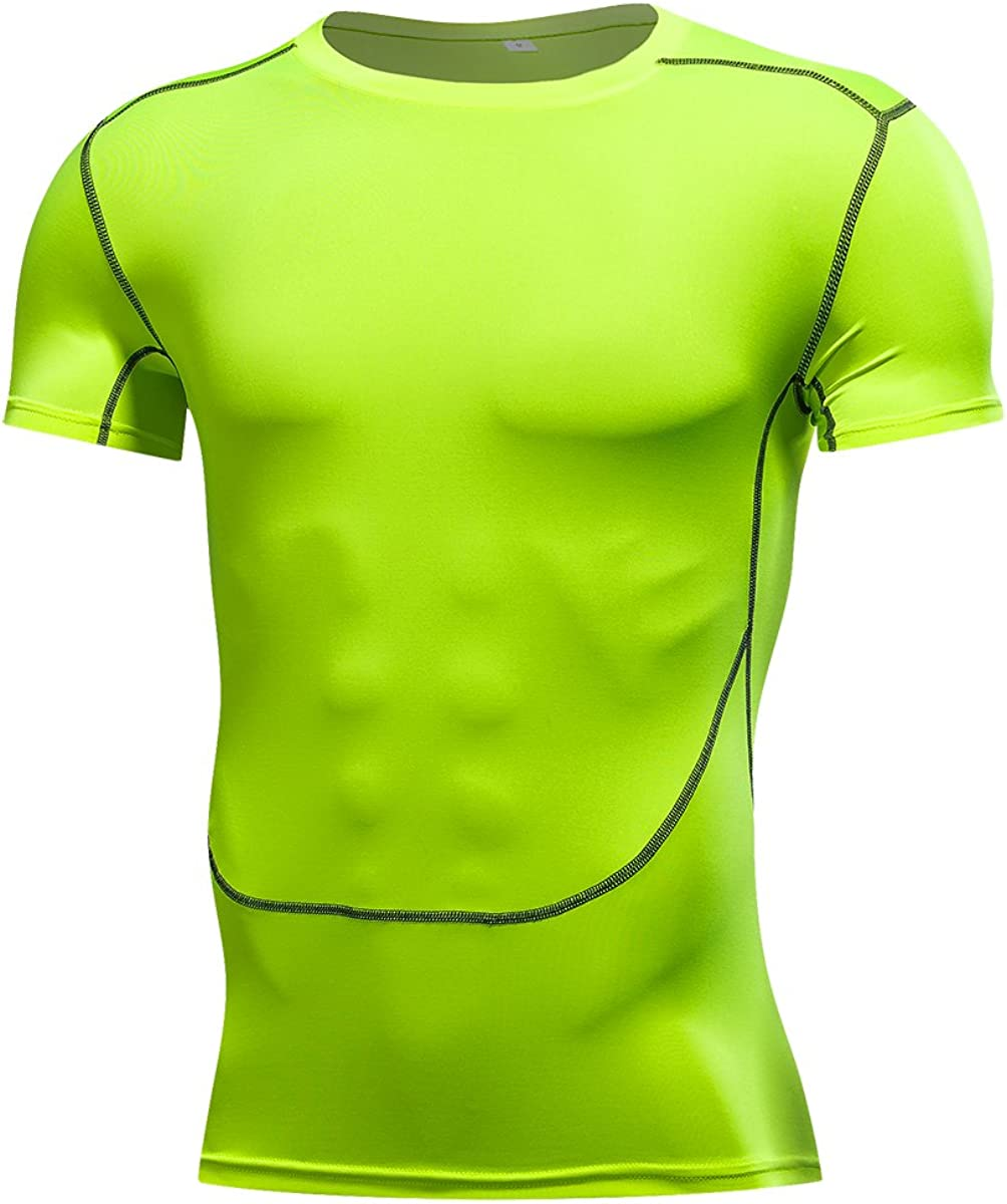 1Bests Mens Athletic Running Basketball Short-Sleeved Tight Tops Sports Fitness Quick-Drying Compression Shirts