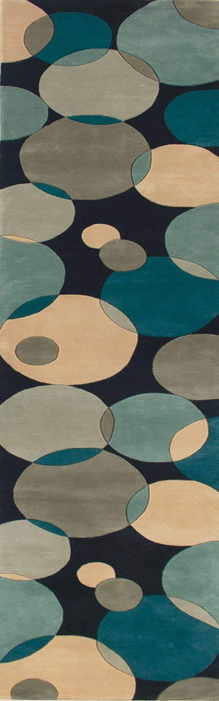 Momeni Rugs New Wave Collection, 100 Wool Hand Carved Tufted Contemporary Area Rug, 2 6 x 8 Runner, Teal Blue