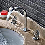 #8: Rozin Bathroom 2 Crystal Knobs Basin Faucet 3 Holes Widespread Sink Mixer Tap Chrome Finish