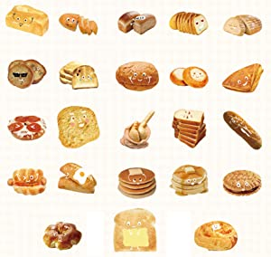 46PCS Kawaii Breakfast Bread Sticker Cute Food Bread Sticker for Scrapbooking journaling Planner Diary Albums Stationery Decoration Sticker Children Gift