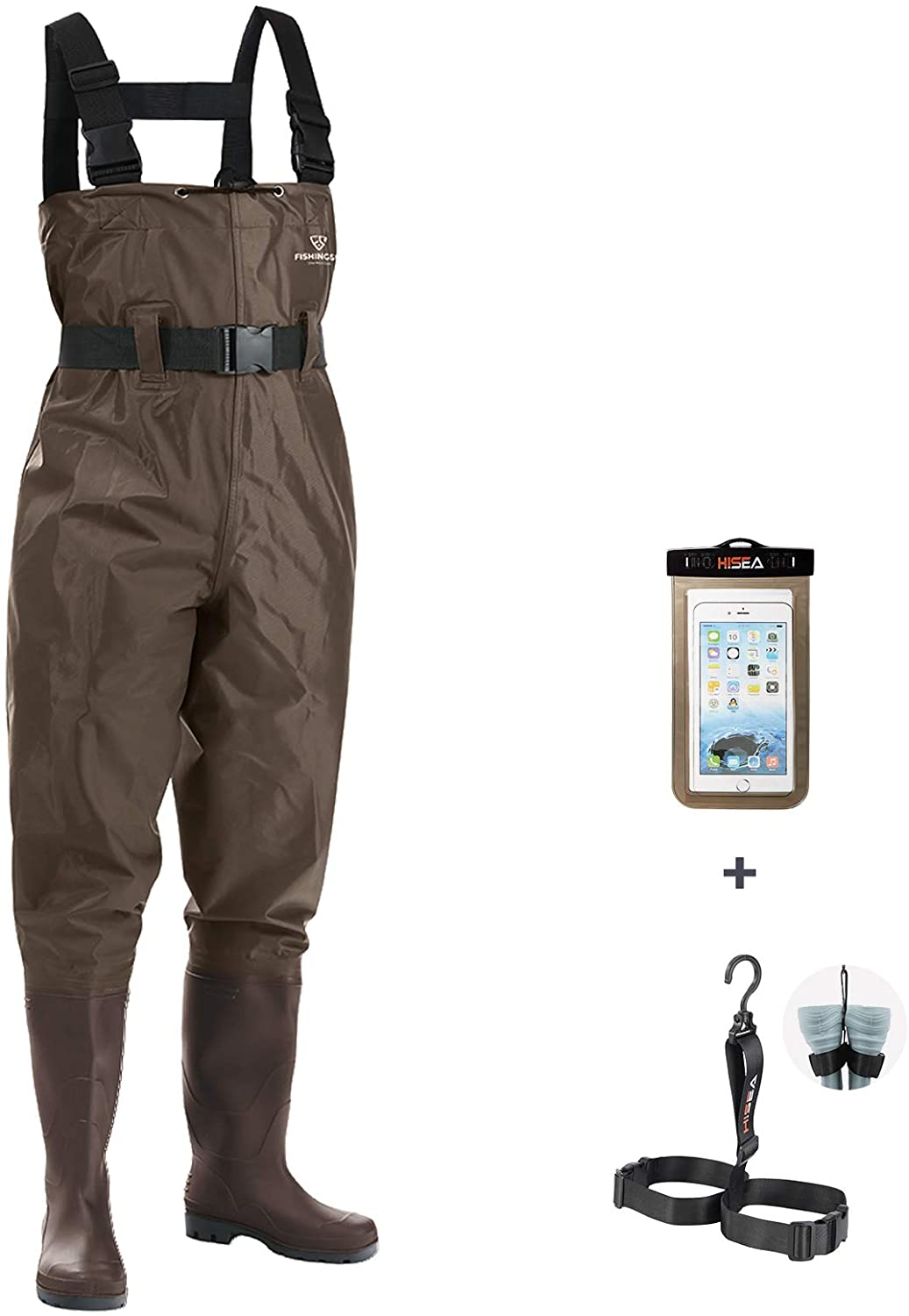FISHINGSIR Fishing Chest Waders for Men with Boots Mens Womens Hunting Bootfoot Waterproof Nylon and PVC with Wading Belt : Clothing