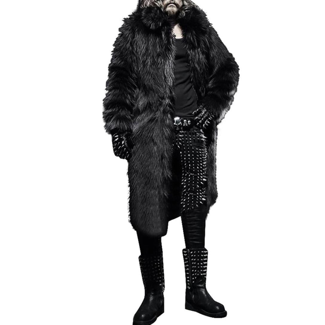 TOOPOOT Men Faux Fur Parka Outwear,Winter Mens Warm Thicker Long Coat Jacket (Size:XXL, Black)