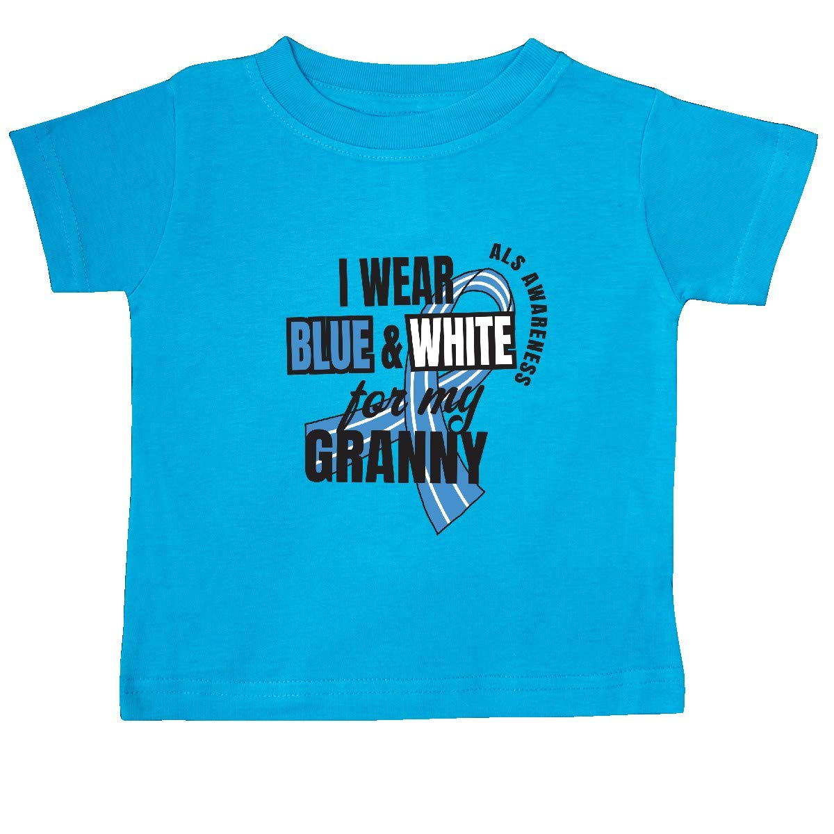 inktastic I Wear Blue and White for My Granny ALS Awareness Baby T-Shirt