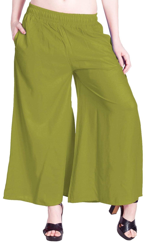 LUX LYRA Women's Cotton Palazzo Pants (PL32F01,Parrot Green,Free Size)