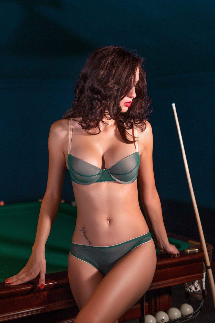 Amazon.com  Push up bra lingerie set with thong panties ⇼ handcrafted green  lingerie set ⇼ mesh bra and panties ⇼ push-up bra small size set  Handmade b7142f673