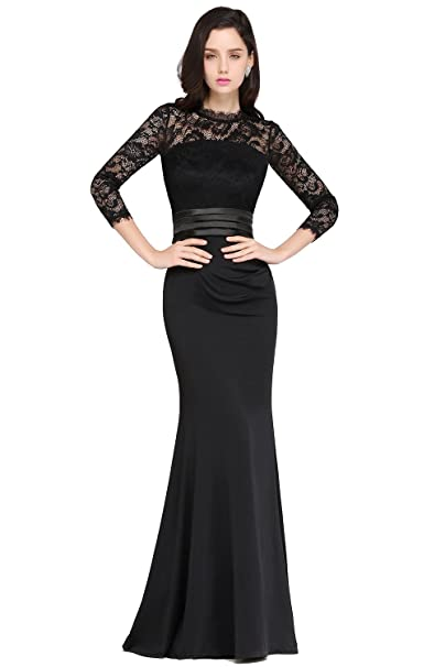 Misshow Womens Illusion Long Sleeve Lace Evening Gowns 2018 Mother